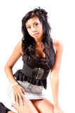 Attractive Young Woman Wearing Denim Skirt. Isolat Stock Photo
