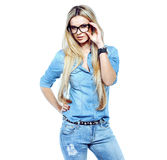 Attractive young woman wearing glasses Royalty Free Stock Image