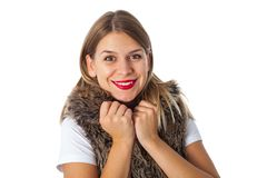 Smiling female with fur vest Royalty Free Stock Photography