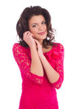 Attractive young woman wearing a pink dress Stock Photos
