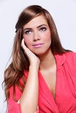 Attractive young woman wearing a pink dress Royalty Free Stock Images