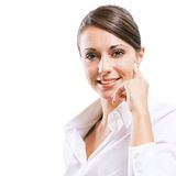 Attractive young woman in white shirt Royalty Free Stock Photography