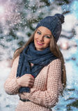 Attractive young woman in a winter fashion shot Royalty Free Stock Photos