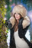 Attractive young woman in a winter fashion shot Stock Image