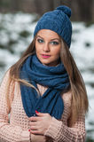 Attractive young woman in a winter fashion shot Royalty Free Stock Photography