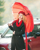 Attractive young woman in a winter fashion shot Royalty Free Stock Images