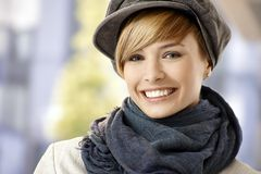 Attractive young woman in winter sunshine Stock Photos