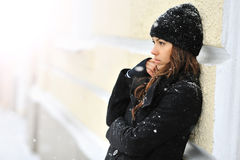 Attractive young woman in wintertime - looking away Stock Image