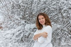Attractive young woman in wintertime outdoor.  Stock Image