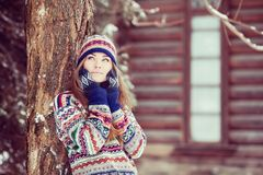 Attractive young woman in wintertime outdoor.  Stock Images