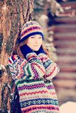 Attractive young woman in wintertime outdoor.  Stock Photo