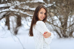 Attractive young woman in wintertime outdoor Stock Photography
