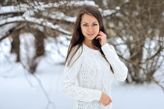 Attractive young woman in wintertime outdoor Stock Photos