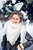 Attractive young woman in wintertime outdoor Stock Photo