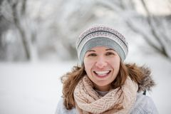 Attractive young woman in wintertime outdoor.  Stock Photography
