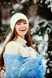 Attractive young woman in wintertime outdoor.  Royalty Free Stock Photography