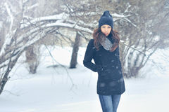 Attractive young woman in wintertime outdoor Royalty Free Stock Photography