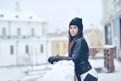 Attractive young woman in wintertime outdoor Stock Images