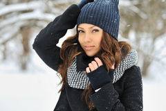 Attractive young woman in wintertime - outdoors portrait Royalty Free Stock Image