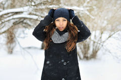 Attractive young woman in wintertime - outdoors portrait Stock Images