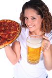 Attractive Young Woman With Food And Drink Stock Images