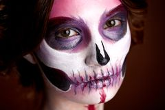 Attractive Young Woman With Sugar Skull Halloween Makeup Royalty Free Stock Photo