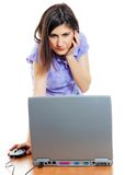 Attractive young woman working with the computer. Isolated over white Stock Image