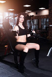 Attractive young woman working out with dumbbells in gym. Fitness girl execute exercise. Stock Images