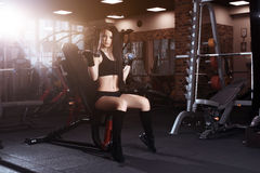 Attractive young woman working out with dumbbells in gym. Fitness girl execute exercise. Stock Photo