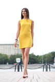 Attractive young woman in yellow dress Stock Photos