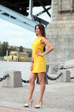 Attractive young woman in yellow dress Stock Images