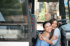 Attractive young women are enjoying their journey Royalty Free Stock Image