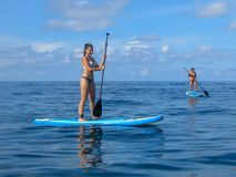 Attractive young woman paddling on SUP board on the tropical beach. Active summer vacations with paddle board. Beautiful Tropical stock photos