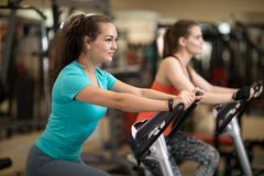 Attractive young women in sports clothing exercising on gym bicycles stock photos