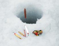 Attraits de pêche de glace Photos libres de droits