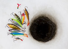 Attraits de pêche de glace Photo libre de droits