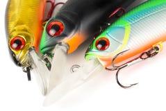 Attraits en plastique de pêche (wobbler) d'isolement sur le blanc Photo stock