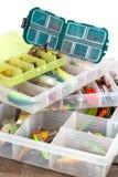 Attraits et amorces d'Ishing dans la boîte en plastique Photos libres de droits