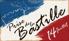 Attraktion av att storma av bastille- och franskafärgpenseldragen, vektorillustration Royaltyfria Bilder