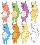 Attraktion för hand för färg för klotter för tecknad film för leksak för tryckhusdjurunge fastställd stock illustrationer