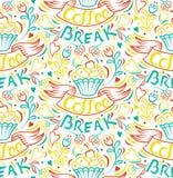 Attraktion för kaka för kaffeavbrott förbi handen fäste ihop sömlös bakgrund Arkivfoto
