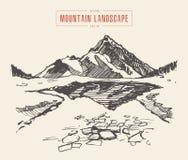 Attraktion för vektor för sjö för härligt berglandskap med is stock illustrationer