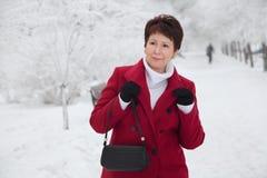 Attraktiv äldre kvinna på den snöig gatan för vinter Arkivfoton