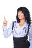 attraktiv affär som pekar upp kvinna Arkivfoto