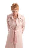 attraktiv affärskvinna som ser moget bekymrat Arkivbild