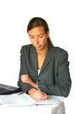 attraktiv affär som gör anmärkningskvinnan Arkivfoto