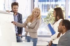 Attraktiv affärskvinna som framlägger till kollegor Arkivfoton