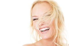 attraktiv away klipsk hårkvinna royaltyfri foto