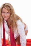 attraktiv blond caucasian fortieskvinna Royaltyfri Foto
