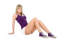 attraktiv blond flicka Fotografering för Bildbyråer